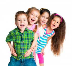 4 Children white background
